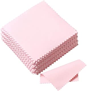 SEVENWELL Jewelry Cleaning Cloth 50pcs Pink Polishing Cloth for Sterling Silver Gold Platinum Small Polish Cloth 8x8mm
