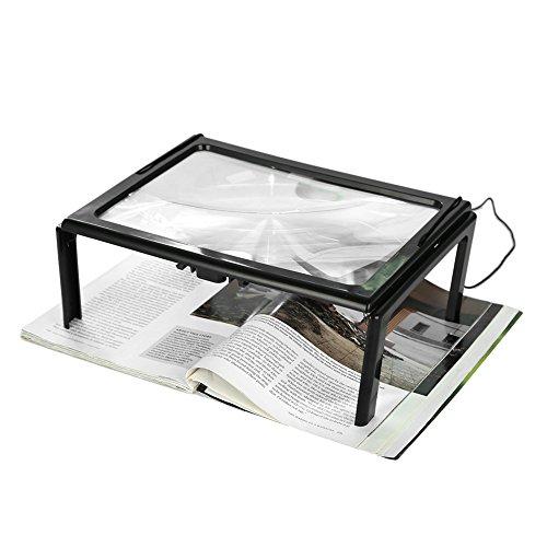 Jinyank Lupa plegable ultrafina, ligera, fácil de transportar y usar, lupa plegable para lectura con lupa de 3 x 4 luces LED