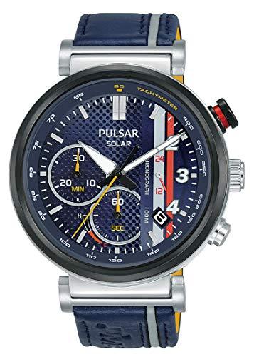 Pulsar Herren Analog Solar Uhr mit Leder Armband PZ5079X1