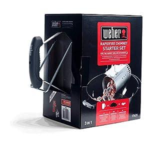 Weber 17631-Set Chimenea briquetas Encendido Blancas, INOX, 2 kg/ 6 Pastillas