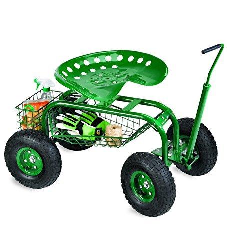 Rolling Scoot-N-Do Garden Seat Powder Coated Tubular Steel Green - 54½''L x 17¾''L x 27¼''H