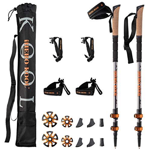 iHERO-KOOL -Premium Qualität- Nordic Walking Stöcke Verstellbar Leicht | Wanderstöcke Teleskop | Walking Stöcke | Faltbar Quick Lock Korkgriff Schnee EIS Alpin Trail | Herren Damen Kinder