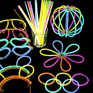 Glow Party Supplies - 100 Pcs Glow Sticks Bright Colorful Light Stick Party Fluorescent DIY Necklace Bracelet Event Weddin...