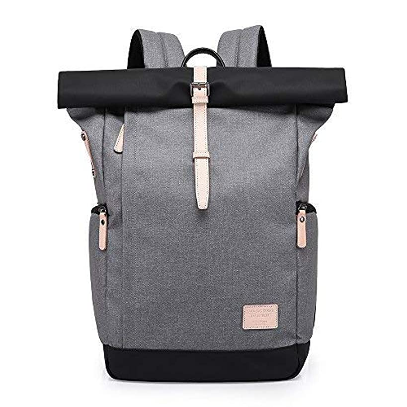 Canvas Backpack,Vintage Business Computers Laptop Backpack with USB Charging Port,School College Bookbag Waterproof Dustproof,Casual Travel Hiking Bag for Men Women (Grey)