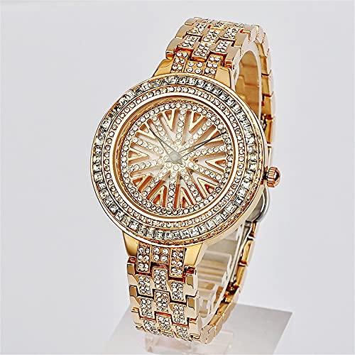 YiChuangMaoYi Moda Tiempo Redondo para Correr el Reloj Ladies Rose Gold Tendencia Coreana (Color : A)