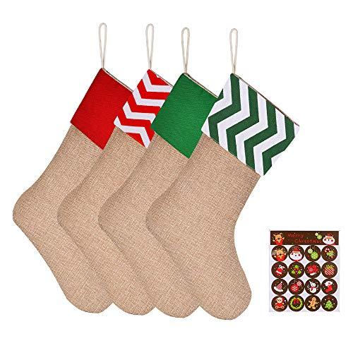 Medias de Navidad, CGBOOM 4 pcs Calcetín de Decoración Navideña para el árbol de Navidad Chimenea Decoración, Adorno de Navidad Bolsa de Dulces