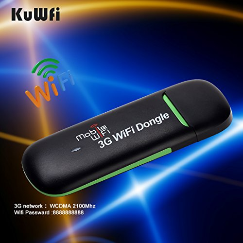 KuWFi Wireless Mini 3G WiFi Hotspot Mini Portable Wireless Modem 3G USB WiFi Router with sim Card Use for Car&Bus Black Color (Moblie Phone sim Card) not Including Need Buy in Local City