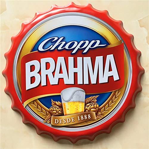 Brahma Gran Cerveza Cubierta Cartel de Chapa Logo Placa Vintage Metal Pintura Etiqueta de La Pared Signo de Hierro Bar KTV Tienda Decorativa 40X40 CM