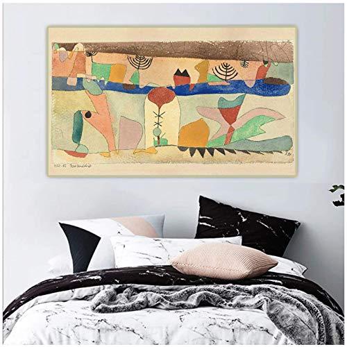 XuFan Paul Klee 《Parkland.1920》 Lienzo Pared Arte Pintura Obra de Arte impresión póster Imagen Sala de Estar decoración del hogar-20X32 Pulgadas sin Marco