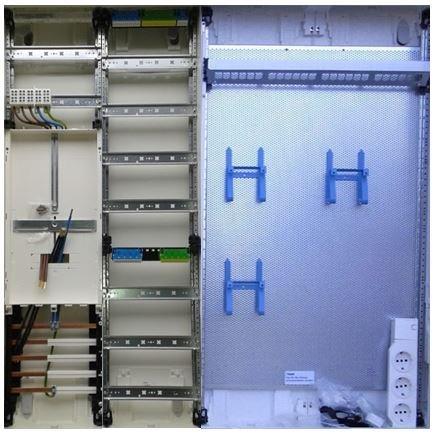 TM: 12070: Hager Zählerschrank 1x 3.HZ Zähler + 1x Verteiler + 1x Multimediafeld 2-feldrig ZB34NW