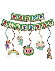 تتضمن لوازم حفلات أعياد الميلاد من كوكوميلون لافتات عيد ميلاد سعيدة ودوامات معلقة، زينة حفلات بطابع كوكوميلون مناسبة للبنين والبنات