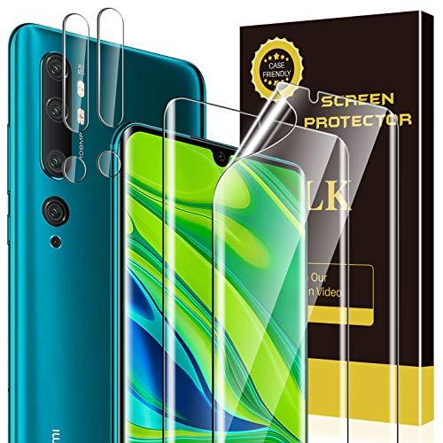 LK 4 Stück Schutzfolie Kompatibel mit Xiaomi Mi Note 10/Note 10 Pro, 2 Schutzfolie & 2 Kamera Panzerglas, TPU Schutzfolie, HD Klar Bildschirmschutz, Kratzen Blasenfrei Einfacher Montage