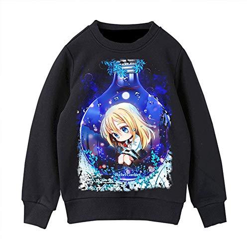 BOBD-DW Estampado Impresin De Anime De 3D Hoodie Casual Manga Larga Pulver Sweatshirt Angels of Death Suter 2D Cuello Redondo Negro L