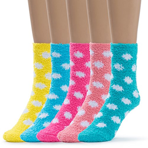Silky Toes Womens 5 Pairs Warm Fuzzy Slipper Casual Socks