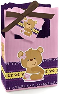 Girl Baby Teddy Bear - Baby Shower or Birthday Party Favor Boxes - Set of 12