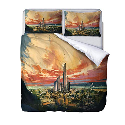 Three-piece duvet cover city building Duvet Cover Quilt Bedding Set with Pillow Case Thermal Warm Cosy Super Soft,140x200cm