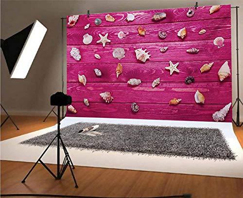 Fondo de vinilo rústico de 30,3 x 10 m, con diseño de conchas de mar en la costa marina vintage, fondo de imagen para cumpleaños, boda, graduación, decoración del hogar