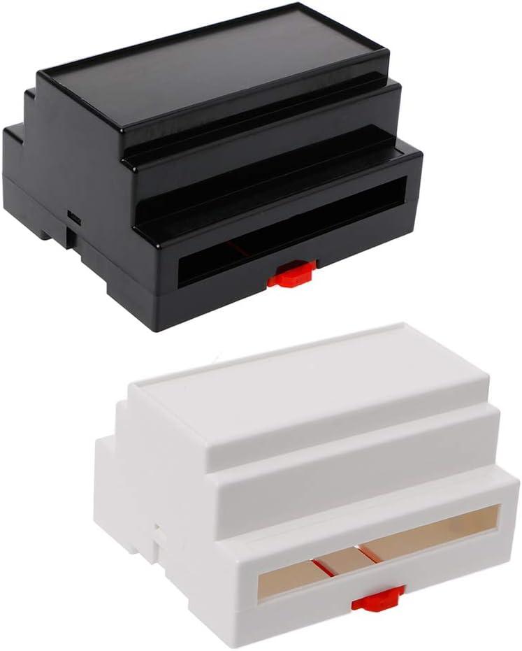 Ocobudbxw Caja de Conexiones de Carril DIN de pl/ástico Negro//Blanco Equipo electr/ónico