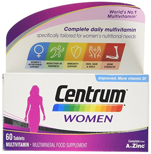 Centrum Women Multi Vitamins and Minerals Tablet, 60 Tablets (2 Months Supply), 24 Essential Nutrients Vitamins and Minerals Tailored for Women Under 50, Vitamin D, Complete From A - Zinc