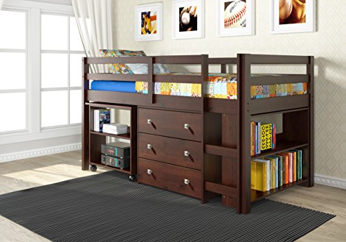 Donco Kids 760-CP Low Study Loft Bed, Dark Cappuccino