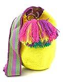 COLOMBIAN STYLE Bolsos Colombianos Artesanales UNICOLOR TAMAÑO MEDIO, mochila Wayuu tanto para mujer como para hombre