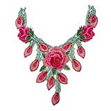 Lila Serie Stickerei Rose Blume Spitze Ausschnitt Kragen