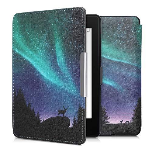 kwmobile Klapphülle kompatibel mit Amazon Kindle Paperwhite - Hülle eReader (für Modelle bis 2017) - Polarlicht Hirsche Türkis Blau Schwarz