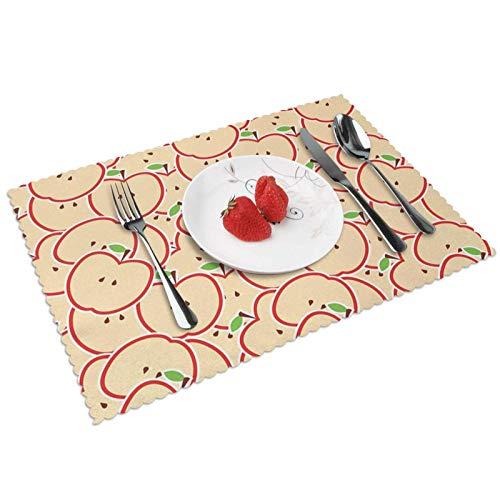 Manteles Individuales Dibujos Animados de Frutas refrescantes, Mantel Individual Antideslizante Resistente Al Calor Salvamanteles Juego De 4 para La Mesa De Comedor De Cocina, 45x30 Cm