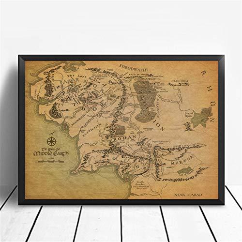 El Anillo del señor Mapa de la Tierra Media Cartel Art Poster Home Decor Poster HD Print Home Wall Art Print en Lienzo -60x90CM sin Marco
