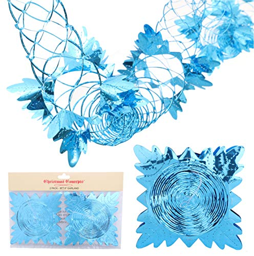 Christmas Concepts Pack Of 2 9ft Foil Garland Festive Hanging Decorations - Christmas Decorations (Turquoise)