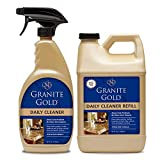 Granite Gold Daily Cleaner Spray and Refill Value Pack Streak-Free Cleaning for Granite, Marble, Travertine, Quartz, Natural Stone Countertops, Floors - Made in the USA, Clear