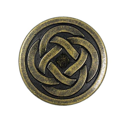Bezelry 12 Pieces Tiny Celtic Knot Metal Shank Buttons. 20mm (3/4 inch) (Antique Brass)