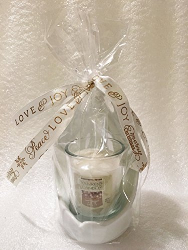 Yankee Candle Winter Village Angel Holiday Votive Holder Gift Set with an ALL IS BRIGHT Votive