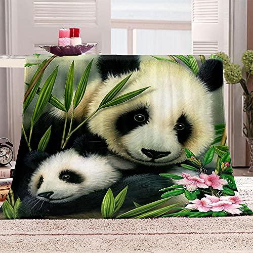 LHUTY Manta Suave de Franela Panda 180x200 cm Manta Sofa Manta Suave Franela Mantas Microfiber Manta Cálida Lavable Transpirable para Cama del Invierno del Salón