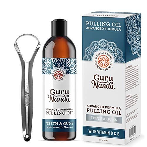 GuruNanda Advanced Formula Oil Pulling with Tongue Scraper - Natural Coconut Oil Mouthwash with Essential Oils & Vitamins D, E - Ayurvedic Formula Helps Bad Breath - Healthy Gums & Teeth (8 Fl Oz)
