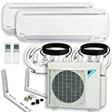 DAIKIN Dual (2 Zone) 4MXS Air Conditioner Heat Pump + Maxwell 15 ft. Installation Kit + Wall Bracket (24000 + 24000 BTU)