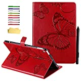 UUCOVERS iPad 10.2 inch 7th Generation 2019 Case, iPad Air 3 2019 10.5' 3rd Gen & iPad Pro 10.5 2017 Cover with Pencil Holder, Folio Stand Smart PU Leather Wallet [Auto Wake/Sleep], Red Butterfly