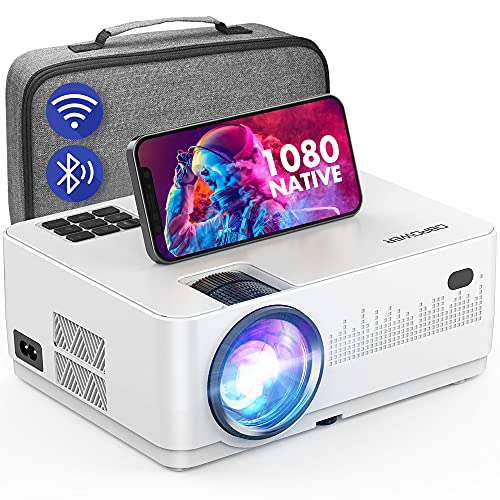 WiFi Bluetooth Projector, DBPOWER 9000L HD Native 1080P Projector, Zoom & Sleep Timer Support Outdoor Movie Projector, Home Projector Compatible w/ TV Stick, PS4, Xbox, DVD, Laptop/Extra Bag Included