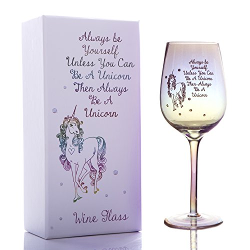Boxer Gifts Always Be Yourself Unless You Can Be A Unicorn - Vaso brillante con efecto brillante con diamantes | Regalo de vino blanco y rojo para madre hermana amiga