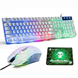 LexonElec UK Layout Gaming Keyboard and Mouse Sets Rainbow Backlit Ergonomic Usb Gaming Keyboard + 2400DPI 6 Buttons Optical Rainbow LED Usb Gaming Mouse + FREE Gaming Mouse Pads
