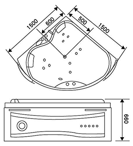 """OimexGmbH Eckwhirlpool 150 x 150 cm 2 Pers. """"Helsinki"""" Whirlpool Badewanne - 6"""