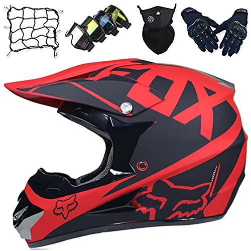 Casco Moto Niños, Juego Cascos Motocross Unisex de Cara Completa (5 piezas) Cascos Choque de Motocicleta Todoterreno para Adultos para Downhill MTB ATV Dirt Quad Bike MX - con Diseño Fox - Negro Rojo