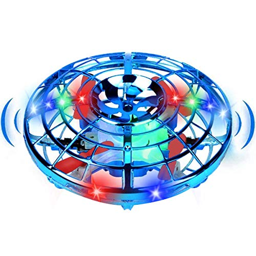 TURNMEON 【2 in 1 Land-air Mode】 Mini Drone Flying Toy Gifts for Kids Beginner Hand Operated Drones Toy UFO Quadcopter with 360° Rotating & LED Lights, Indoor Outdoor Flying Ball Drone (Upgraded)