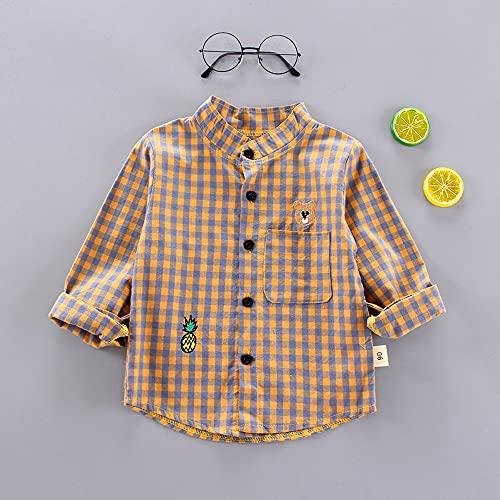 MikeyBee Camisetas delgadas de primavera para bebés de manga larga con estampado a rayas para niños, camisetas casuales (7-amarillo, 3T)