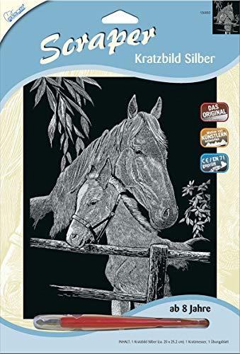 MAMMUT 136003 - Kratzbild, Motiv Pferd mit Fohlen, silber, glänzend, Komplettset mit Kratzmesser und Übungsblatt, Scraper, Scratch, Kritzel, Kratzset für Kinder ab 8 Jahre