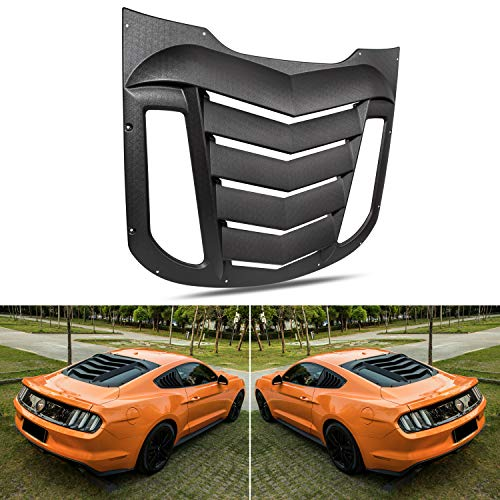Rear Window Louvers Fit for Ford Mustang 2015 2016 2017 2018 2019 2020 Matte Black ABS Window Visor Sun Shade Cover Vent