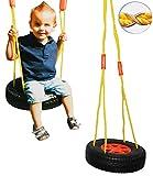 alles-meine.de GmbH Schaukel / Schaukelreifen - incl. Seil & Haken / Brettschaukel - runde Kinderschaukel aus Kunststoff - Schaukelbrett / Kunststoffschaukel - Baby / Kinder - fü..