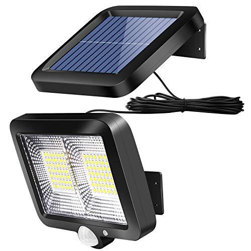 Solarlampen für Außen mit Bewegungsmelder, ZOYJITU 98 LED Strahler 120° Superhelle Solarleuchten für Außen LED IP65 Wasserdichte 3 Modi Solar Wandleuchte mit 16.5ft Kabel, LED Solarleuchte
