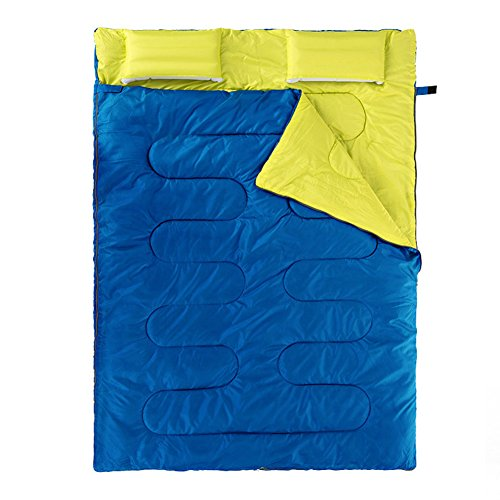 HM&DX Doppelte schlafsäcke Erwachsene,Briefumschlag 5 gründe Ultraleicht Hüttenschlafsack Mit Kissen Kompression Sack Camping Wandern Trekking Outdoor-blau