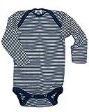 Cosilana Baby Body Wollbody, Größe 86/92, Farbe geringelt Marine-Natur - WollbodyGmbH